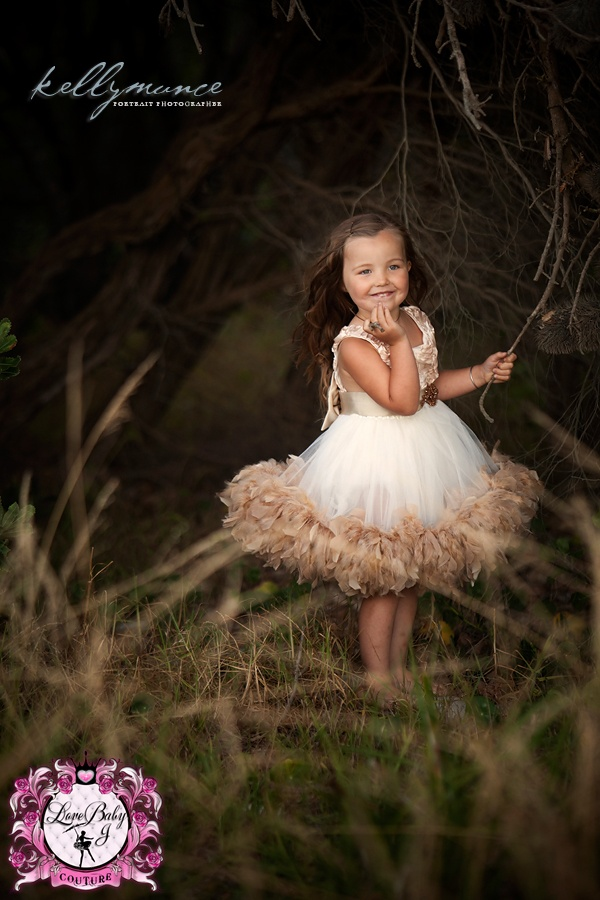 Demure Elegance... A Satin Rosette Feather Dress - $158.00 :: Love Baby J Boutique - Welcome to Love Baby J Couture - Boutique Clothing For Girls