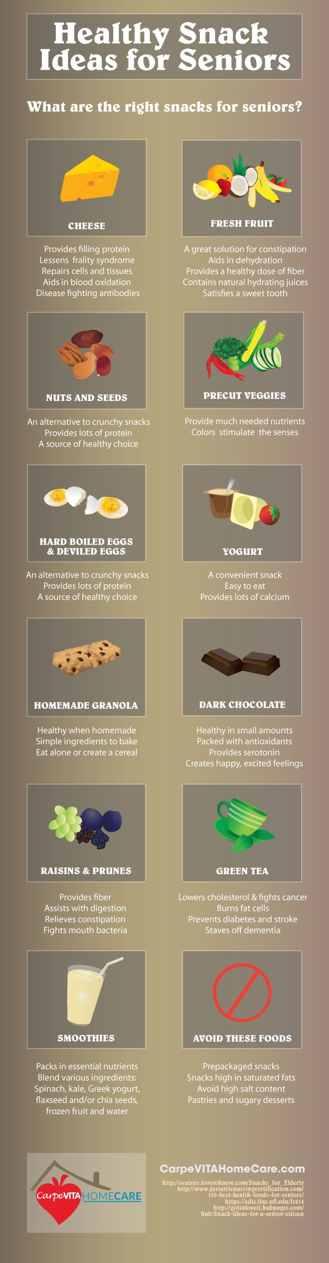 Healthy Snack Ideas for Seniors Infographic: http://carpevitahomecare.com/healthy-snack-ideas-for-seniors/