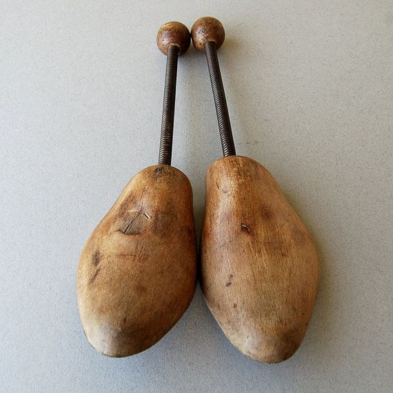 Vintage wooden shoe trees Wood Shoe stretchers by nancyplage