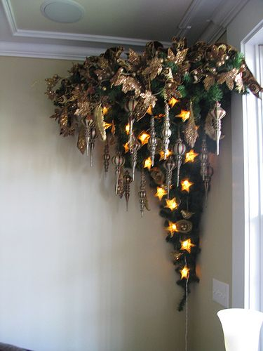 corner wall mounted upside down tree  The Party Goddess! Marley Majcher   www.thepartygoddess.com ©  #upsidedowntree #unique #christmastree