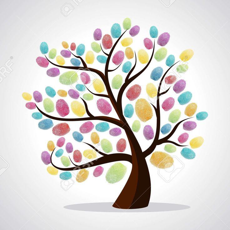 Разнообразие цветов дерева отпечатки пальцев иллюстрации фона. многослойный файл…