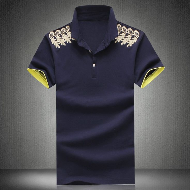 Chinese Style Navy Cotton Mascot Embroidery Polo Shirt for Men - iDreamMart.com