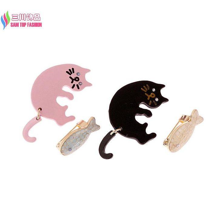 Оптовая продажа брошь комплект мода старинные мило эмаль черный / розовый кот рыба костюм пен ювелирные аксессуары для женщин Broches купить на AliExpress