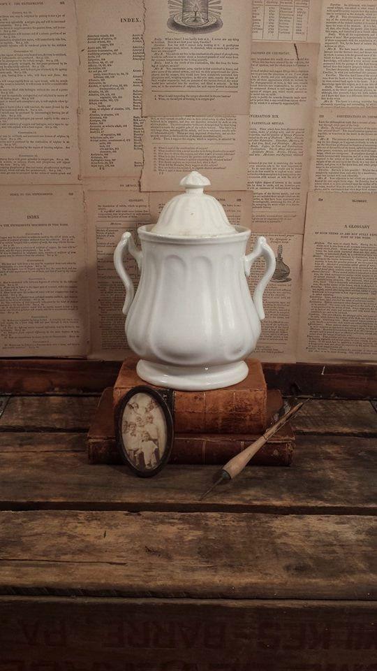 White Ironstone Sugar Bowl Antique Cookie Jar by ElisabethMacBeth