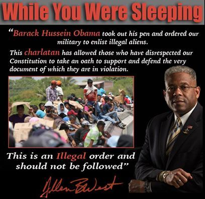 While you were sleeping, Barack Hussein Obama took out his pen and ordered the U.S. military to enlist illegal aliens.  This allows those who have disrespected our constitution and broken the law to take an oath to defend the very document that they have violated.  THIS IS AN ILLEGAL ORDER AND SHOULD NOT BE FOLLOWED.