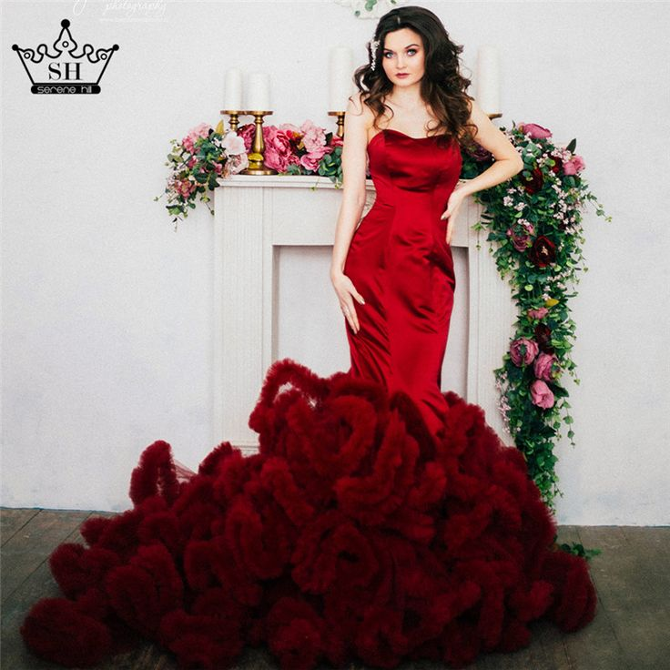 Cheap dress outfits for women, Buy Quality dress up games wedding dress directly from China dress teenager Suppliers: Real Photo Luxury Croset Bodice Top Quality Lace Up Cloud Mermaid Wedding Dress Burgundy Bridal Gowns Robe De Mariage Rouge 2017