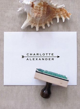 Arrow Name Stamp - Custom Stamp for Stationery by Pretty Chic