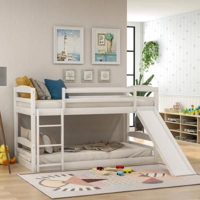 Harper Bright Designs White Twin Over Twin Low Bunk Bed With Slide And Ladder Harper Bright Designs White Tw In 2020 Low Bunk Beds Twin Bunk Beds Bed With Slide