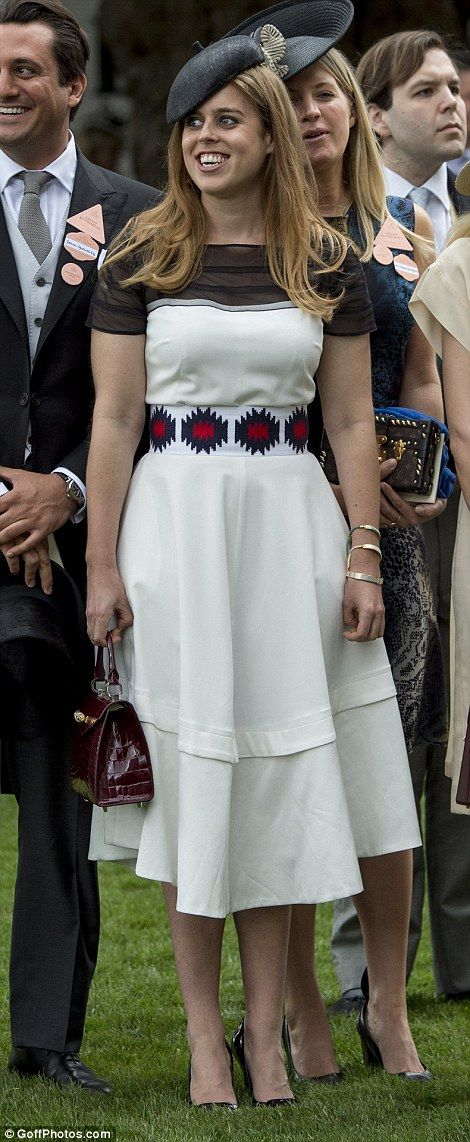 Princess Beatrice also made an appearance in a monochrome dress which she paired with a bu...