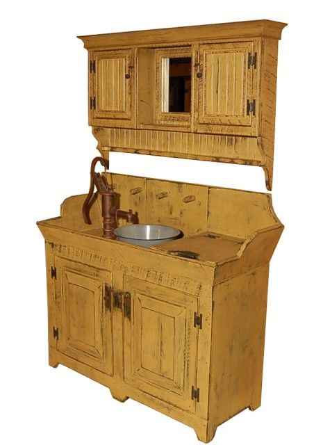 Country Rustic Dry Sink Cabinet Combo will be a great addition to your country rustic or primitive decor.   This combo would be beautiful in any bathroom or in other rooms in your home.  With the size and beauty it draws a lot of attention and is a real crowd pleaser.  These pieces are distressed to complete a country rustic look.