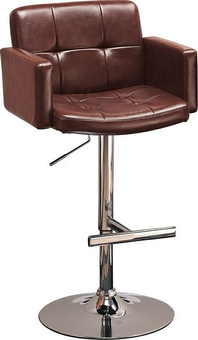 106 Brown Leather Like Vinyl Upholstered Chrome Base And Leg Bar Stool Chair With Adjule