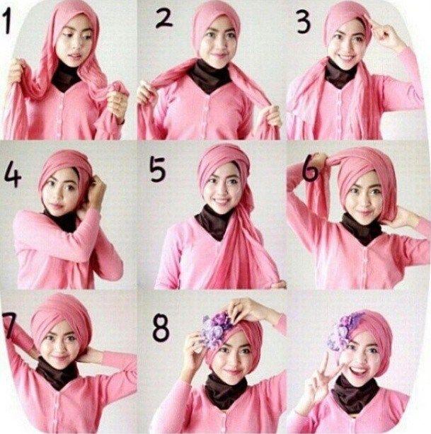 Gambar Cara Tutorial Hijab Segi Empat Jilbab Turban