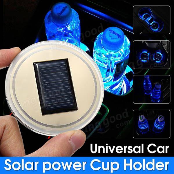 Universal Solar power Cup Holder Bottom Pad LED Light Cover Trim Atmosphere Lamp