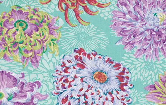 Phillip Jacobs - Floating Mums Duck Egg - 1/2 yard cotton quilt fabric    I know this isnt a Kaffe or Mably print, but it sure does goes together