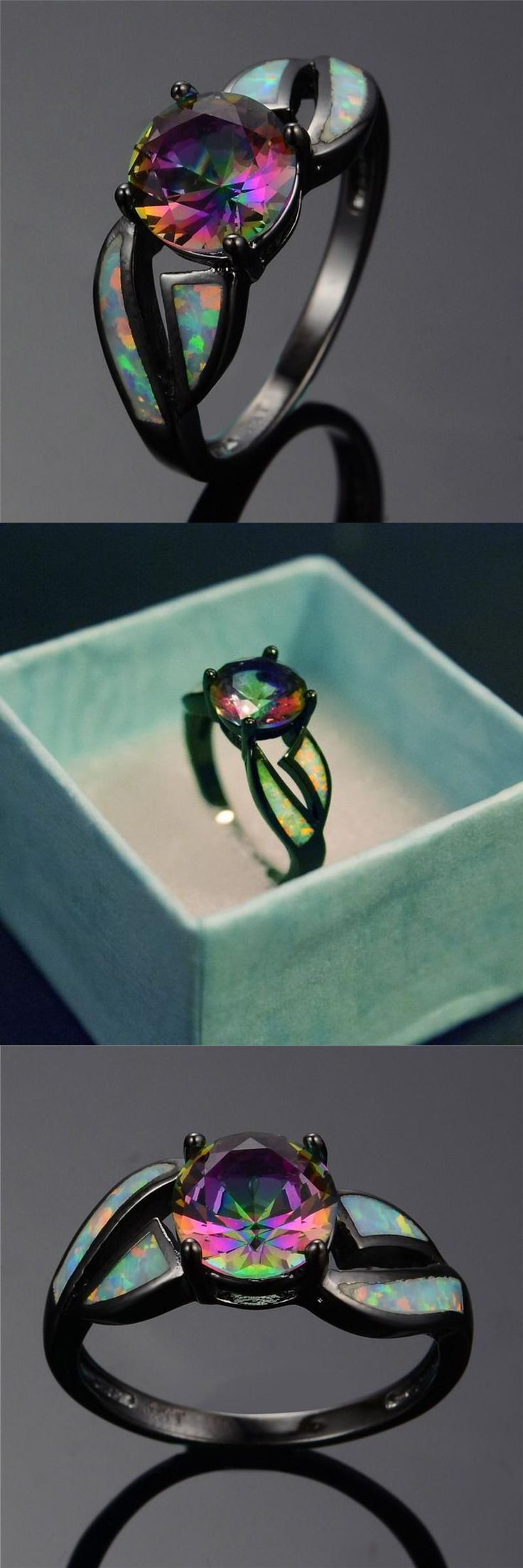 2018 Charming White Fire Opal Ring Colorful Men Women Rainbow Jewelry Black Allo... 3