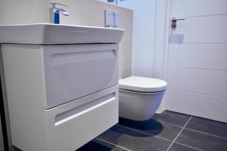 White Guest Bathroom with grey floor tiles #Whitetheultimateclassic