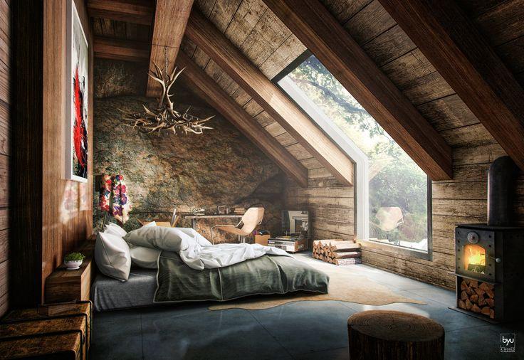 Độc đáo phòng ngủ tầng áp mái với gỗ mộc