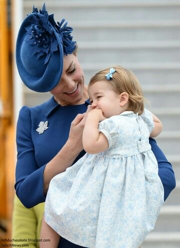 Catherine Duchess of Cambridge holding Princess Charlotte on arrival in Canada. September 24 2016