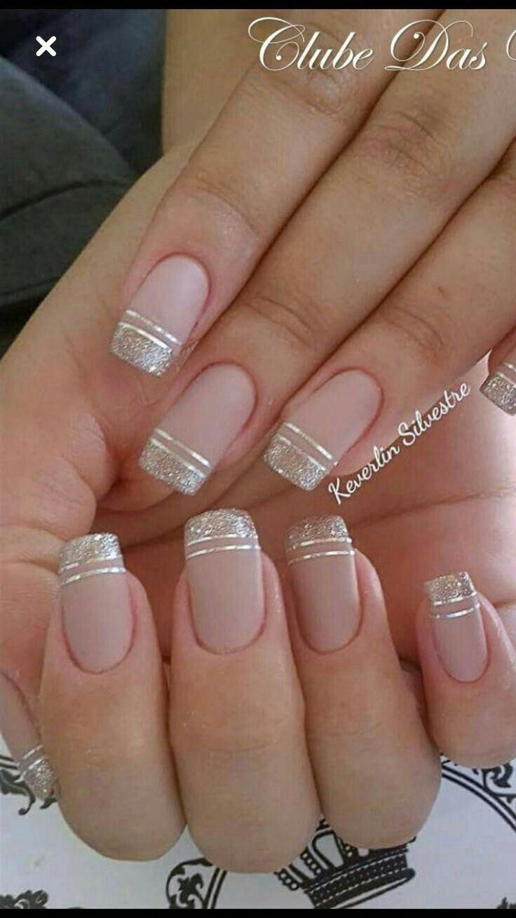 French Nails Ring Finger Strasssteine Frenchnailswedding