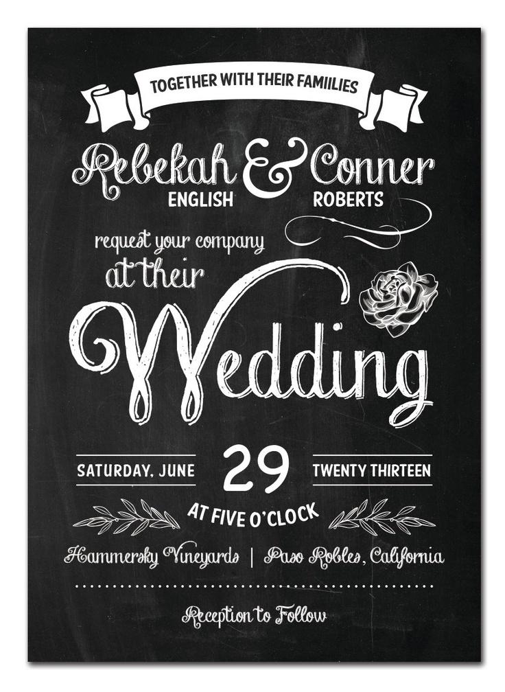 SAMPLE Chalkboard  - Wedding Invitation Suite. via Etsy.