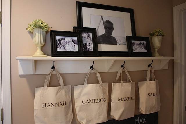 I have similar shelves and hooks mounted in my bedroom. I hang and organize my handbags on the hooks.