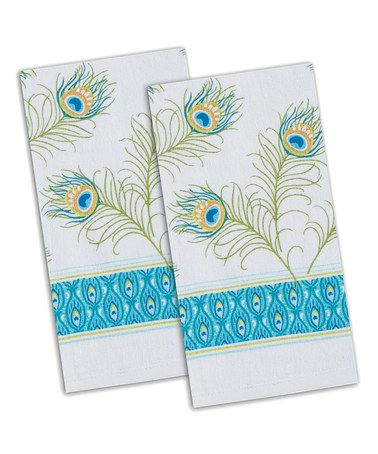 Love this Peacock Terry Towel - Set of Two on #zulily! #zulilyfinds