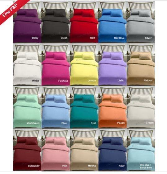 Luxury 100% Egyptian Cotton Duvet Quilt Cover & Pillowcase Bedding Set All Sizes #NZ
