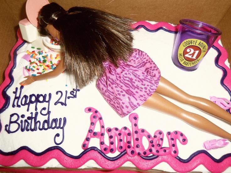Drunken Barbie 21st Birthday Cake With Sprinkles As Throw