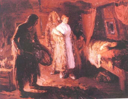Osipov. Shamana.1957, ballingschap.    De plot van dit schilderij is gebaseerd op een botsing tussen twee vijandige krachten - de sjamaan en de Russische vrouwelijke arts aan het bed van een patiënt in een hut, Yakut.    (vertaling uit het Russisch)