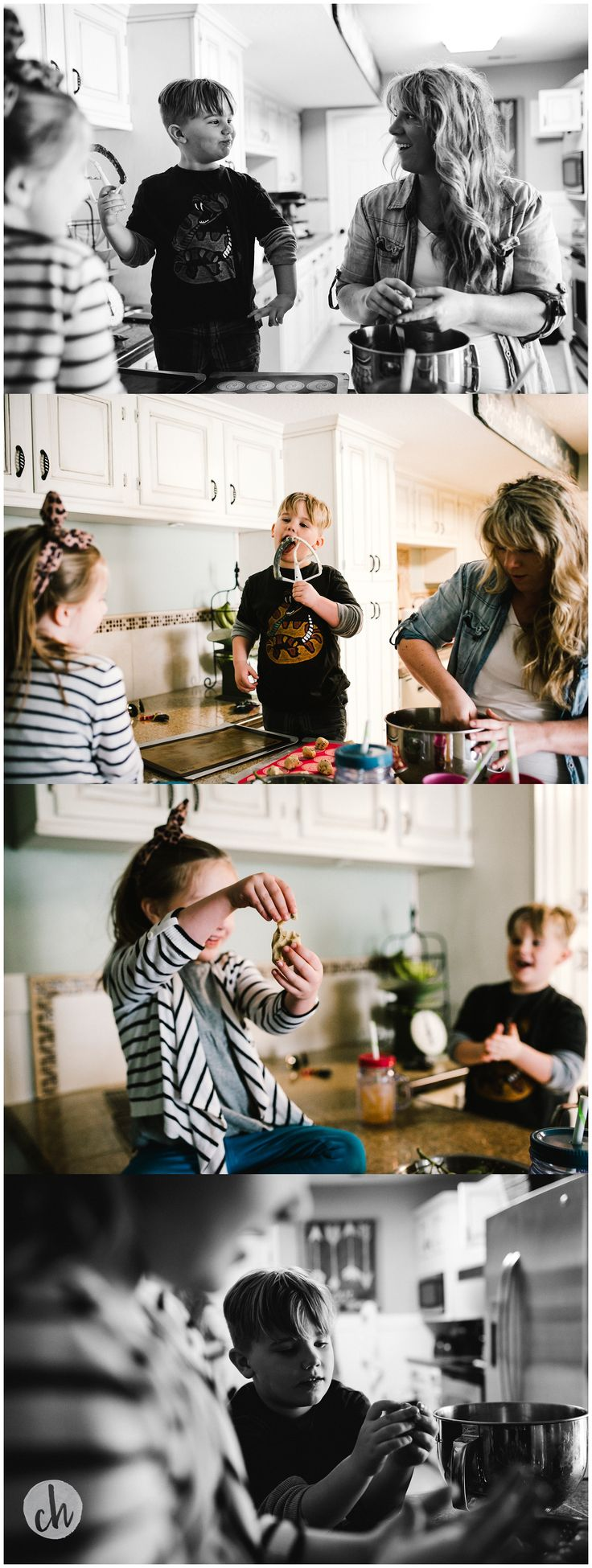 Baking cookies with mom. Family documentary photo session in kansas city. www.christinehurlaphotography.com
