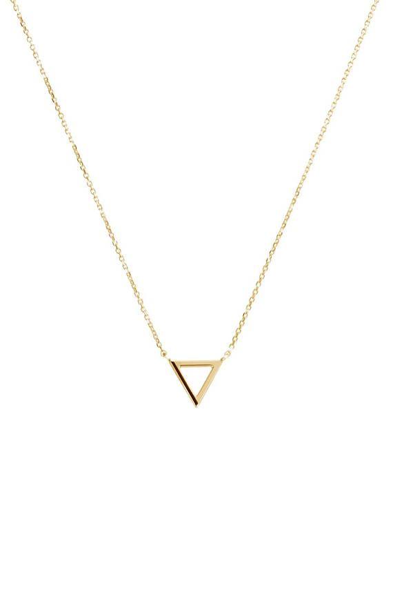 Tiny Gold Triangle Charm Necklace 9k 14k 18k Gold Necklace Etsy In 2020 Gold Triangle Necklace Gold Necklace 18k Gold Necklace