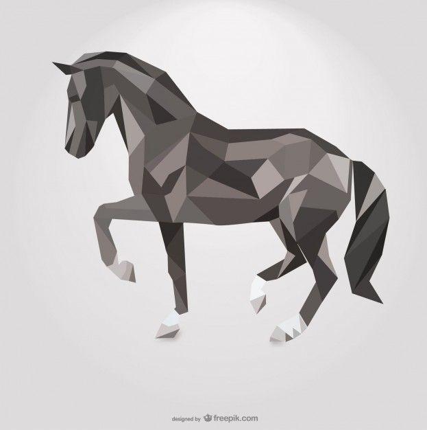 Cavallo poligonale disegno geometrico del triangolo Vettore gratuito