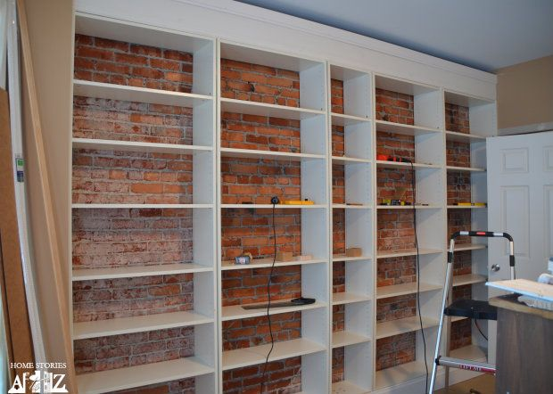 ikea hack billy built in bookshelves part 1 book shelves shelves and ikea hack. Black Bedroom Furniture Sets. Home Design Ideas