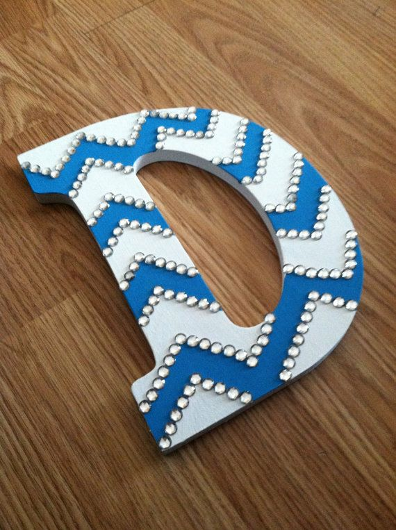 Initial Rhinestone Chevron Wooden Letter Made to by DreamThread
