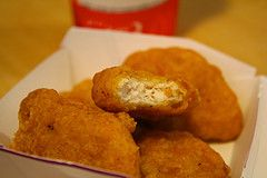 McDonald's Chicken Nuggets- Make your own chicken nuggets using copycat recipe and serve it with your favorite BBQ sauce, honey, mustard or ranch as a dipping sauce. http://www.copycatrecipeguide.com/How_To_Make_McDonald%27s_Chicken_Nuggets