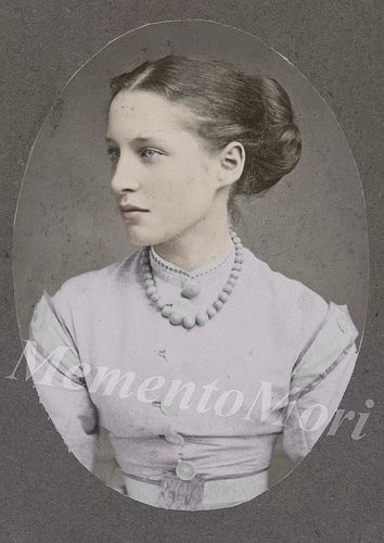 A Very Young Lillie Langtry (October 13, 1853 – February 12, 1929), usually spelled Lily Langtry when she was in the U.S., born Emilie Charlotte Le Breton, was a British music hall singer and stage actress famous for her many stage productions including She Stoops to Conquer, The Lady of Lyons and As You Like It. She was also known for her relationships with nobility, including the Prince of Wales, Albert Edward, the Earl of Shrewsbury and Prince Louis of Battenberg.