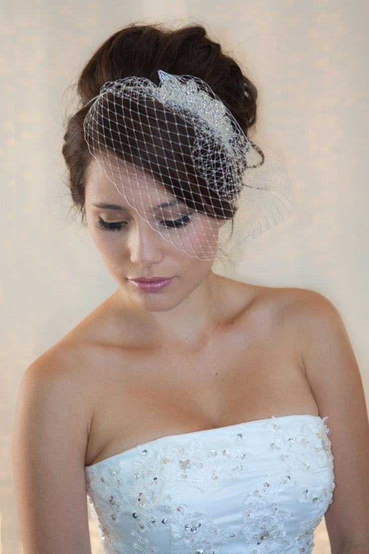 Wedding Hairstyles with Birdcage Veil Crystal rhiestone