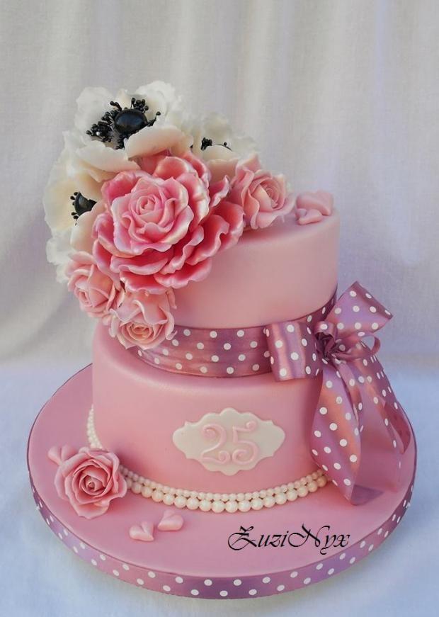 ..narodeninová v ružovom s anemonkami.. , narodeninové torty | Tortyodmamy.sk