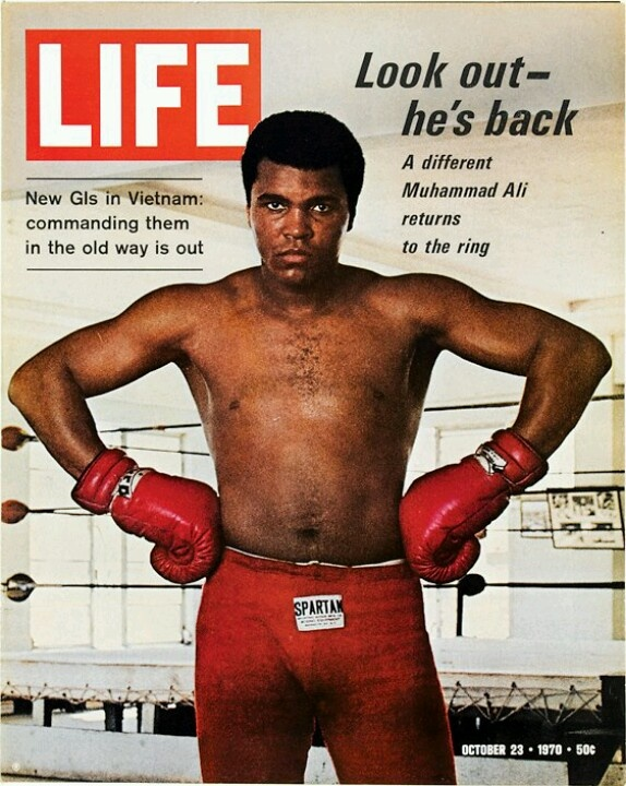 "Muhammad Ali, Life Magazine cover, ""Look out - he's back"" Oct 23, 1970"
