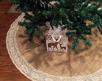 Falda de árbol de Navidad, arpillera y falda de encaje árbol de Navidad, decoración Navidad, falda del árbol, encaje, 60 pulgadas de diámetro, Navidad
