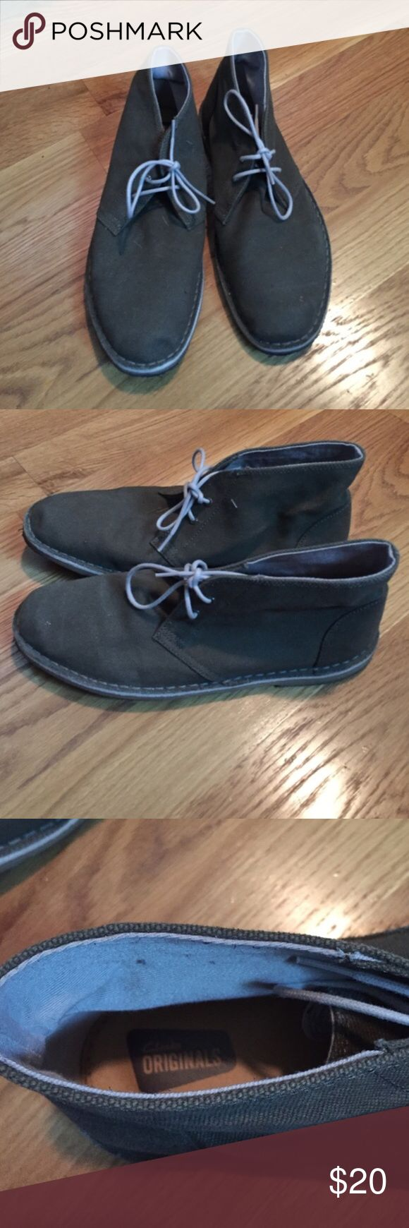 Men's Clarks green jink boots Limited fabric. It is a woven fabric upper in green. Worn 1 - crepe has some dirt on it but also helped to break them in! Clarks Shoes Chukka Boots