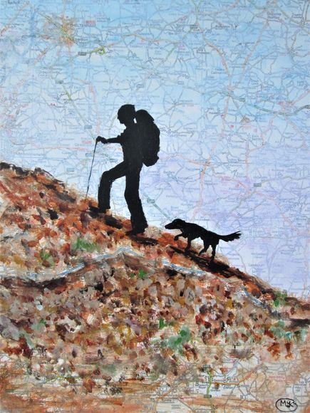 Backpacker and his dog, acrylic ink on a vintage map page
