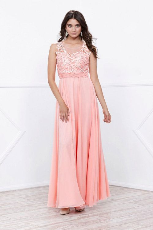 5a03ae5db NOX ANABEL - 8334 Illusion Applique Ornate Gown (Chiffon