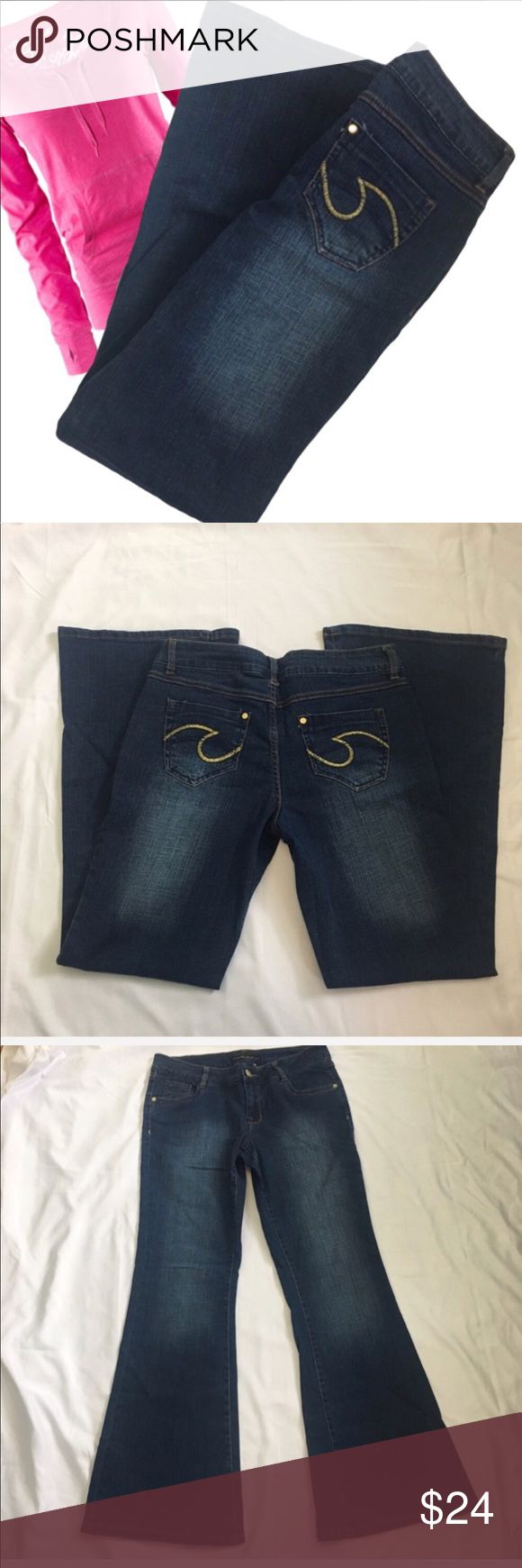 New South Pole Dark Wash  Jeans Size 9 New with out tags South Pole dark blue wide leg jeans.  Size 9 Inseam approximately 31 inches  Please see pictures for all measurements  98% cotton/2 Lycra South Pole Jeans Flare & Wide Leg