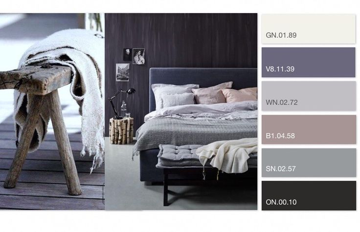 kleuradvies door OPEN interiors - slaapkamer, Sikkens kleuren, grijstinten, paars, zwart, sober (color plan by OPEN interiors - bedroom, Sikkens colors, grey, purple, black)