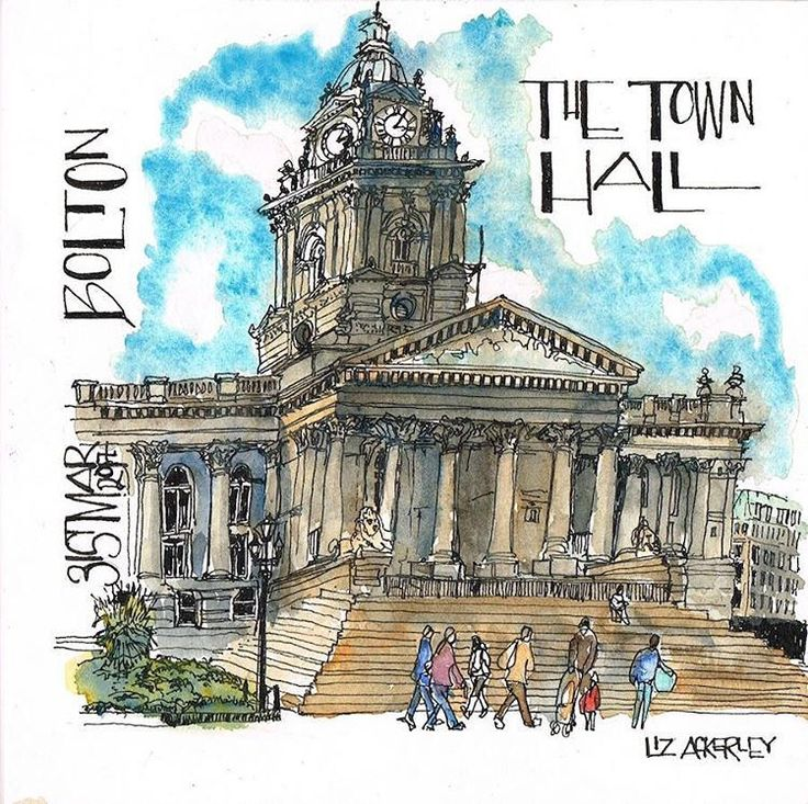 The completed #sketch of #boltontownhall #Bolton .  A sunny but chilly day for #insitu #sketching #usk #urbansketching.  #ThisPlace #series if #originals.  #watchthisspace for where this one is going! #watercolour #penandink #senseofplace