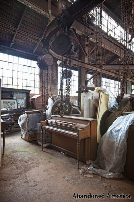 Piano and gigantic pulleys at abandoned bronze foundry - Philadelphia