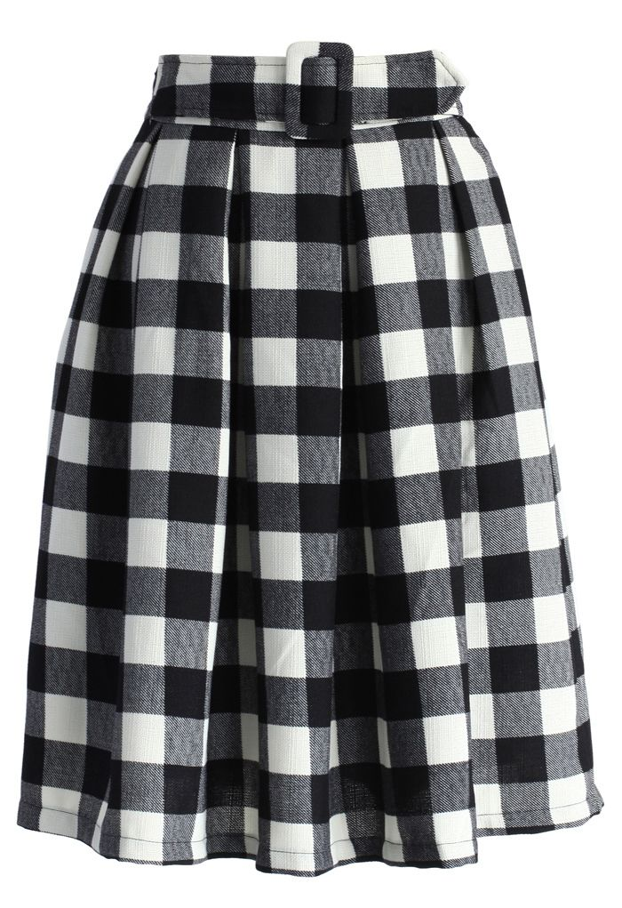 Check and Pleats Belted Midi Skirt - New Arrivals - Retro, Indie and Unique Fashion