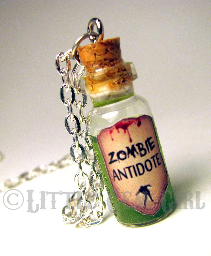 Zombie Antidote - Walking Dead - Glass Bottle Cork Necklace - Potion Vial Charm - Green Shimmer - Magic Spells. $16.00, via Etsy.