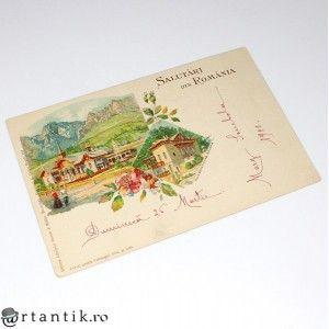 carte postala 1900 - Salutari din Romania - Govora - circulata local